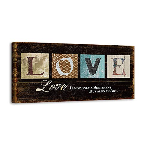 (Kas Home Inspirational Motto Canvas Wall Art,Love Family Prints Signs Framed, Retro Artwork Decoration for Bedroom,Living Room & Home Wall Decor (6 x 12 inch, Love))