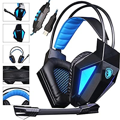 SADES SA710 7.1 Surround Sound USB Over Ear Stereo Gaming Headset Headphones with Microphone LED Light for PS4 PC Mac(Black)