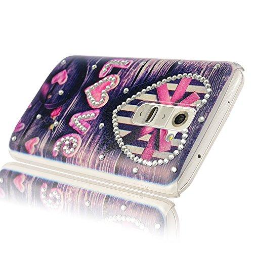 LG G2 Case - Mavis's Diary 3D Handmade Bling Crystal Glitter Diamond Rhinestone Love Heart Case Pattern Dark Blue Skin PC Case Hard Cover for LG Optimus G2 LG D800 with Soft Clean Cloth (One Case)