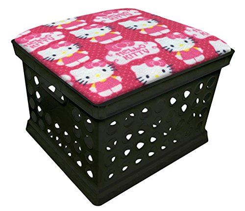 The Furniture Cove Black Utility Crate Storage Container Ottoman Bench Stool with Your Choice of Seat Cushion Theme! (Hello Kitty)