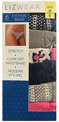 0c0e127a6bf4 Lizwear Women's Cotton Bikini Underwear 6-pack, Blacks / Grays, Medium Size  6