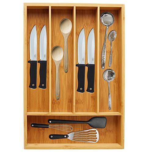 Vaiyer Utensil Drawer Organizer, Cutlery Tray Desk Drawer Organizer Silverware Holder Kitchen Knives Tray Drawer…