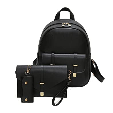 HCFKJ 3Pcs Set Fashion Pu Leather Backpack School Rucksack Women Travel  Shoulder Bag Key Holder Mini e814285c9e937
