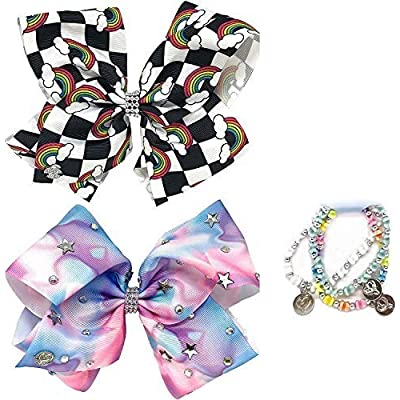 Jojo Siwa Girl's Bow Set 2 Bows and 3 Pack of Bracelets - Checker box with Rainbows, Tye Dye with Stars: Clothing