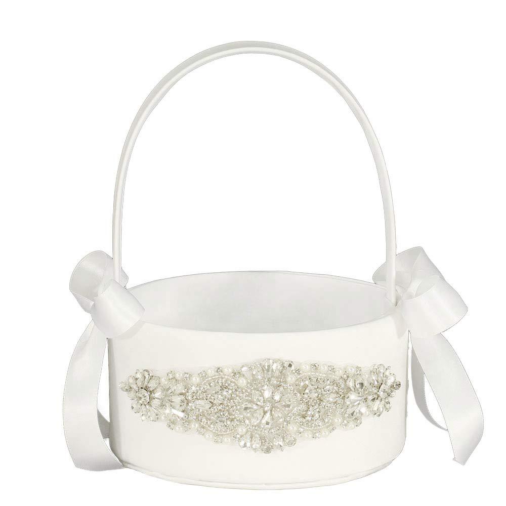 LAPUDA Beautiful Hand Nailed Beads of Wedding Flower Basket with Elegant Appearance and Ivory Color (1 Basket)