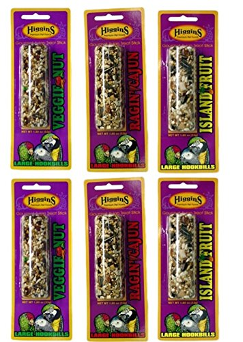 Higgins Gourmet Avian Treat Sticks 3 Flavor 6 Stick Variety Bundle: (2) Veggie Nut Sticks, (2) Ragin' Cajun Sticks, and (2) Island Fruit Sticks, 2-2.2 Oz. Ea. ()
