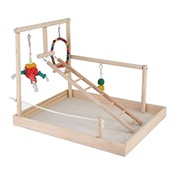 Bird Playground Birdcage Wood Toy Parrot Play Swing Parakeet Cage Accessories