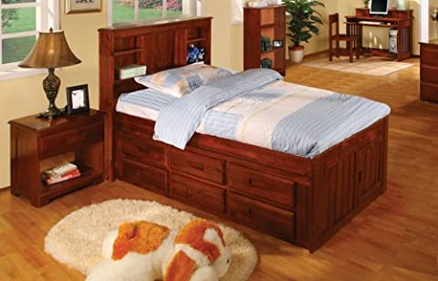 Twin Captains Bed Bookcase with 6 Drawers, Desk, Hutch, Chair and 5 Drawer Chest in Merlot Finish - Bed 5 Drawers