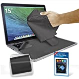 Clean Screen Wizard Microfiber Screen Cleaner and Protector Kit Bundle with 3 Large Cloths / Keyboard Covers in Protective Pouches and Cleaning Sticker for Laptops - 15' Screen
