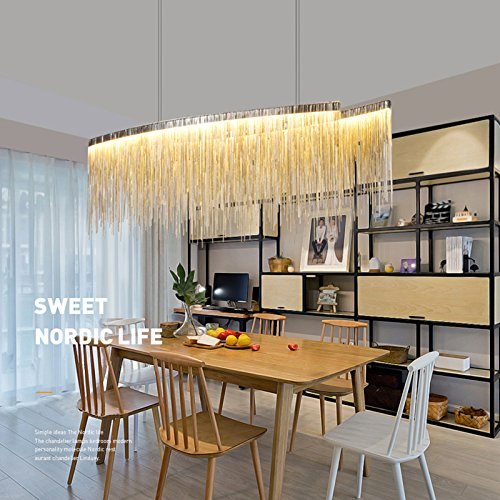 Yue Jia Contemporary Aluminum Linear Chandelier Luxury Pendant Lamp Contemporary Chandelier Island Lighting Fixture for Dining Room Over Table L47'' x W9'' x H14'' by YUEJIA (Image #1)