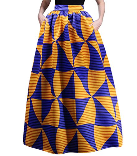 RARITYUS Women's African SkirtBeach Maxi Floral Glamorous Pleated High Waist Casual Boho with Pockets ()