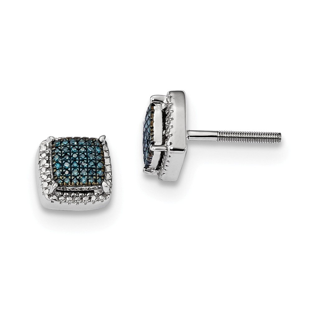 Sterling Silver Blue and White Diamond Square Screwback Earrings