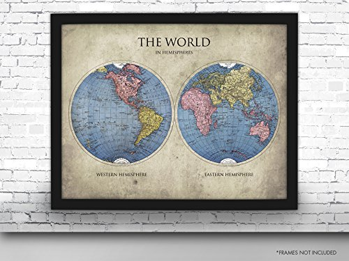 Amazon the world in hemispheres map art print map print the world in hemispheres map art print map print travel poster maps and gumiabroncs Gallery