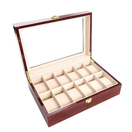 90e91f133445 Happyplus1 para Hombre de Las Mujeres 12 Ranuras Reloj Titular de la Caja  Clara Superior de