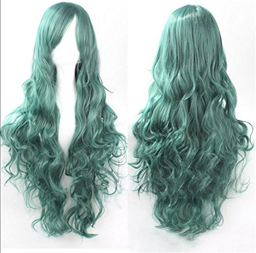 ATOZWIG Long Pastel Green Curly Wavy Party Show Celebrity Wigs Sailor Moon Cosplay Wig (Sailor Moon Cosplay Wig)