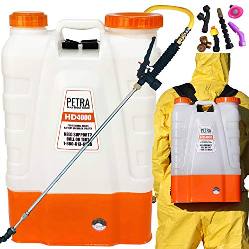 Petra 4 Gallon Battery Powered Backpack Sprayer - Extended Spray Time Long-Life Battery - 2 Wands Included, Wide Mouth Lid, Multiple Nozzles & Battery Included