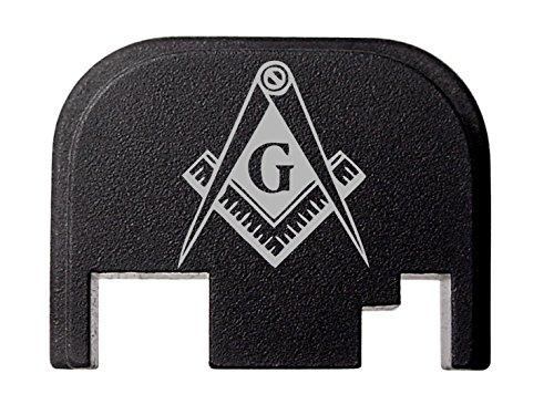 (NDZ Performance for Glock 17 19 21 22 23 27 30 34 36 41 Rear Plate Blk G1-4 Mason Masonic Logo)