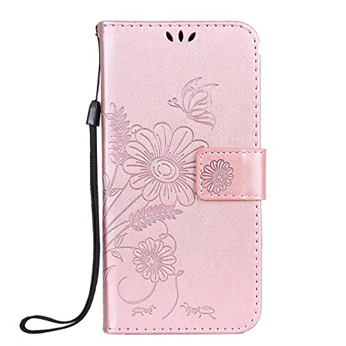 (iPhone 6S Case,iPhone 6s Wallet Case,HAOTP Flip Case Leather Emboss Lovers Ants Butterfly Floral Flowers Folio Magnetic Protective Cover with Card Slots Holders for iPhone 6 / 6s (Rose)