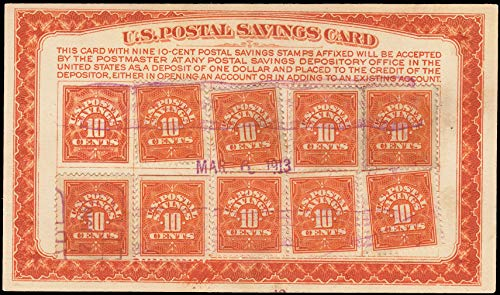 United States Scott PS2 10c Postal Savings on Card with 10 PS1 on U.S. Postal Savings Card. Used.