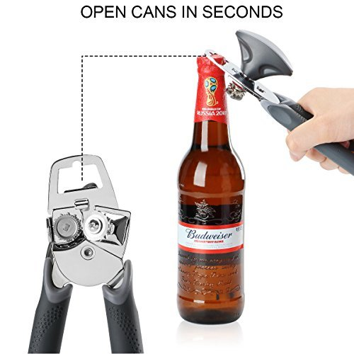 Can Opener, Best Manual Can Opener Smooth Edge Good Grips with Built-in Bottle Opener - Hand Held Stainless Steel Can Opener by Catnee (Image #4)