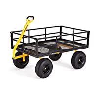 "Gorilla Carts GOR1400-COM Heavy-Duty Steel Utility Cart with Removable Sides and 15"" Tires, 1400-lbs. Capacity, Black"