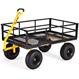 """Gorilla Carts Heavy-Duty Steel Utility Cart with Removable Sides and 15"""" Tires with 1400 lb Capacity, Black"""