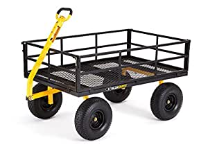 "Gorilla Carts Heavy-Duty Steel Utility Cart with Removable Sides and 15"" Tires with 1400 lb Capacity, Black"