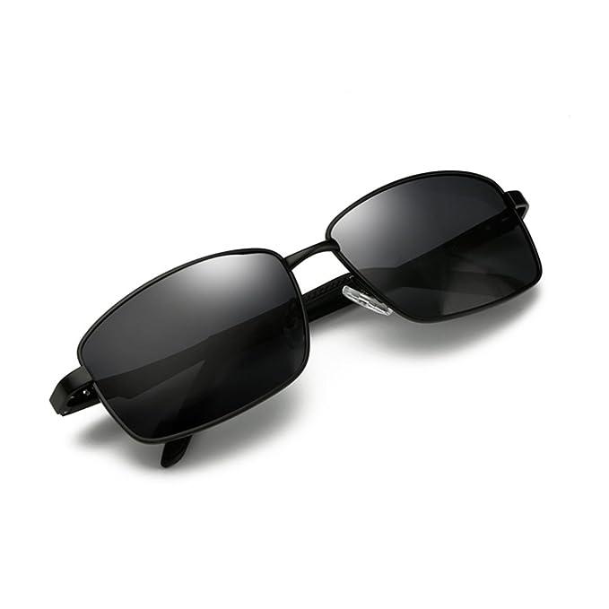 b70665eb95 Polarized Sunglasses for Men Driving Fishing Mens Sunglasses Rectangular  Metal Frame 100% UV Protection Black
