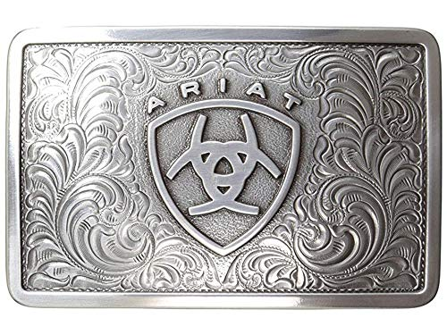 Ariat Men's Rectangle Filagree Shield Buckle, Silver, One Size