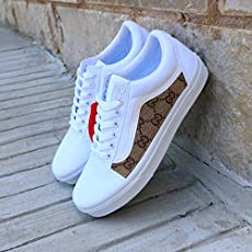 f42ac57f568 Vans White Old Skool x Gucci Custom Handmade Uni-Sex Shoes By Patch  Collection.