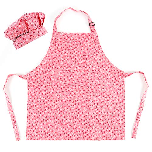 CRJHNS Kids Apron and Chef Hat Set, Adjustable Cotton Child Aprons with 2 Pockets Cute Girls Boys Kitchen Bib Aprons for Cooking Baking Painting (Small, Pink)
