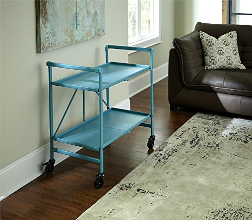 (Cosco Outdoor Living 87602TEA1E Indoor/Outdoor Folding Serving Cart, Teal)