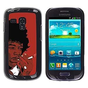 QCASE / Samsung Galaxy S3 MINI NOT REGULAR! I8190 I8190N / hombre negro fumar dibujo africano arte pelo rizado / Delgado Negro Plástico caso cubierta Shell Armor Funda Case Cover