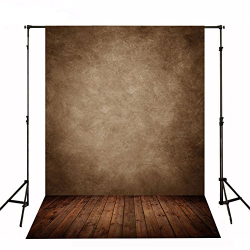 (CXJ 5x7 Feet Wood Floor Photography Backdrops Suede Cloth Brown Wall Photo Background for Photography Studio J01391)