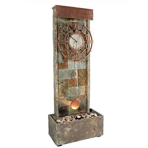 Cheap Sunnydaze Slate Indoor/Outdoor Water Fountain with Clock and Halogen Light, 49 Inch Tall