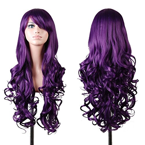 [Mermaid Fashion Women Wig Heat Resistant Long Curly Hair Cosplay Anime Costume Dark Purple Full Wigs+Cap (PURPLE)] (Costume Wigs For Sale)