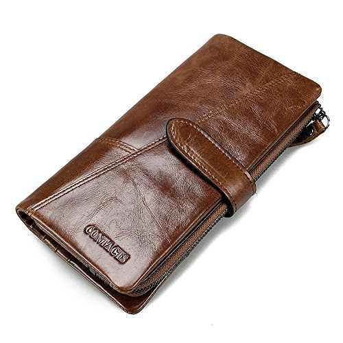 Sheepskin Long Wallet (Contacts Mens Genuine Leather Vintage Trifold Card Phone Clutch Long Wallet 18 Card Slots Brown)