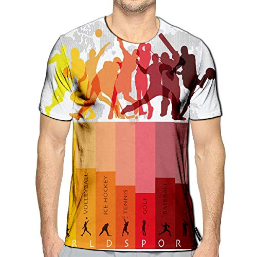 - 3D Printed T-Shirts World Sport Isolate Action Icon Set Design Template Short Sl