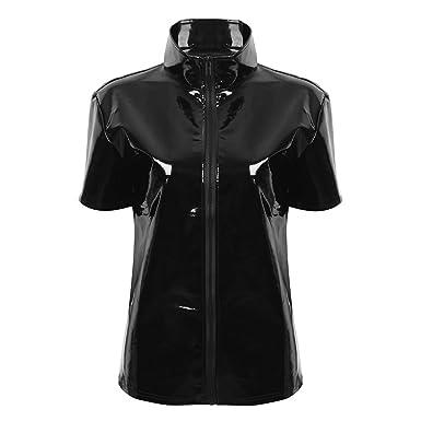 Tiaobug Damen Wetlook T Shirt Tee Kurzarm Top Stehkragen Herren Hemd Sexy  Lack Lederoptik Oberteile Bluse Clubwear mit Reisverschluss  Amazon.de   Bekleidung 25932ab54e