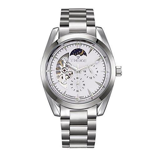 6e103f9b62 Rockyu ブランド 腕時計 メンズ 男性 ビジネス 防水 サファイアガラス 海外ブランド シルバー メンズ時計
