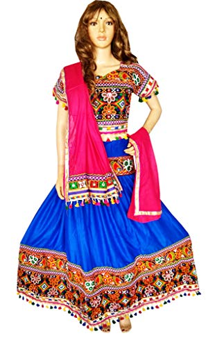 Nanda Women Rayon Indian Kutch Embroidered Chaniya Choli-Rayon Ghagra Choli-With Original Mirror Work-Kutchi Dress-Garba Costume Blue Free Size