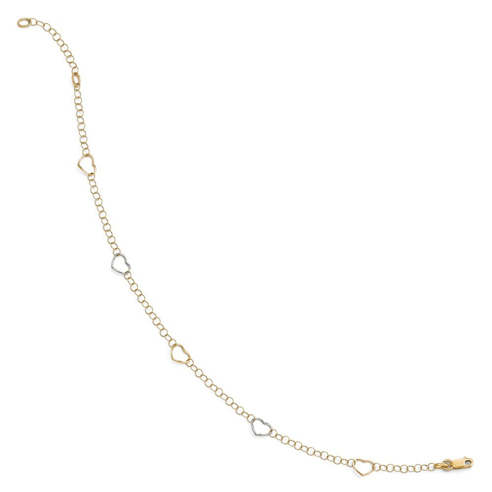 FB Jewels Solid 14K Yellow Gold Plated Sterling Silver Polished Heart 1In Ext Anklet
