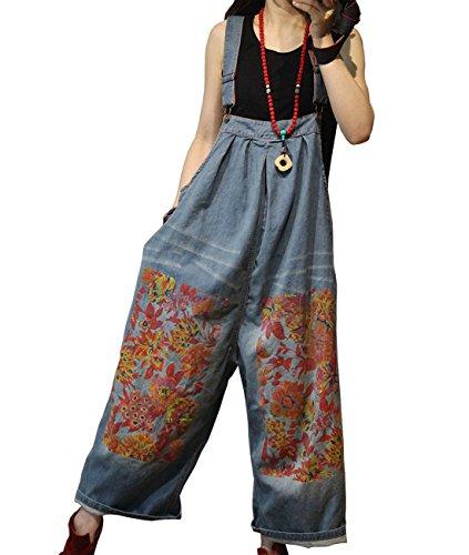 YESNO P91 Women Strap Rompers Jumpsuits Floral Denim Casual Bib Pants 100% Cotton Distressed Boyfriend Wide Leg Pocket
