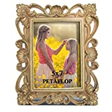 PETAFLOP 5x7 Golden Picture Frames Decorative for 5 by 7 Photo with Real Glass