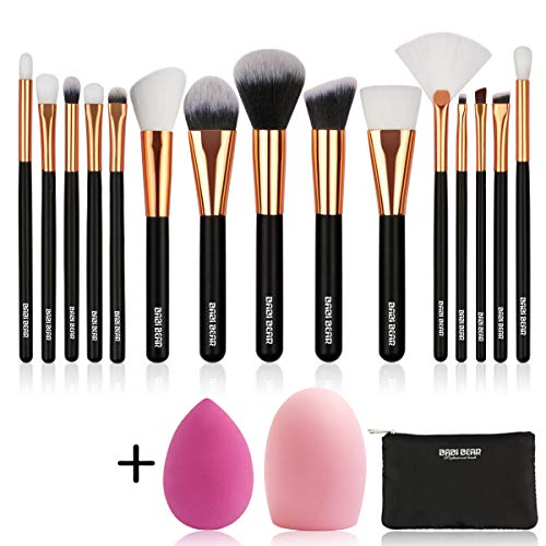 - BABI BEAR 15 PCs Makeup Brushes Set Premium Synthetic Kabuki Foundation Brush Professional Wooden Handle Makeup Brush with Makeup Sponge Brush Cleaner and Travel Makeup Bag (15+3pcs,Rose Gold)