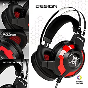 "ONEXELOT Gaming Headset-2018 New Model ""ANUBIS"" Gaming Headphone with Noise Isolation Microphone Surround Stereo Sound, Over-the-Ear Noise Isolating For PC Gamers (Black-Red)."