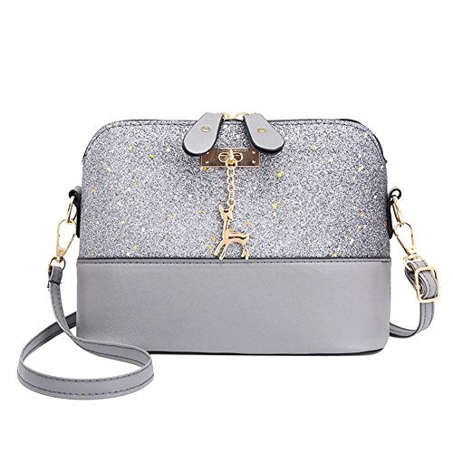 Everpert Shell Shoulder Handbag Women Sequin Lady PU Leather Crossbody Messenger Bag Grey