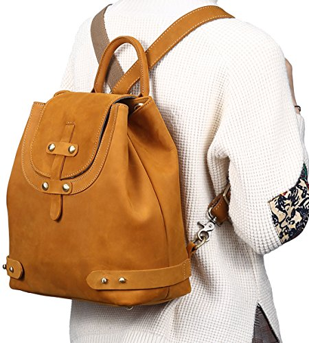 Purse Bag Hereby Preppy Kuer School Shoulder Leather Women��s Retro Cow Backpack Satchel Brown 4Sq4w