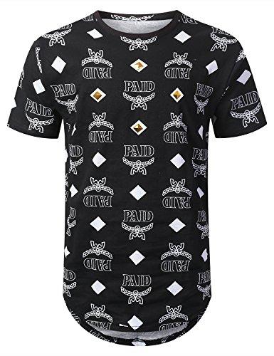 URBANCREWS Mens Hipster Hip Hop Paid Diamond Longline T-Shirt Black, - Black Hipster Men