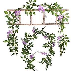 Mistari 2 Pack Artificial Flowers Simulation Leaves Silk Wisteria Ivy Vine Green Leaf Hanging Vine Garland for Garden Wedding Outside Birthdays Prom Party Decorations (Purple) 15